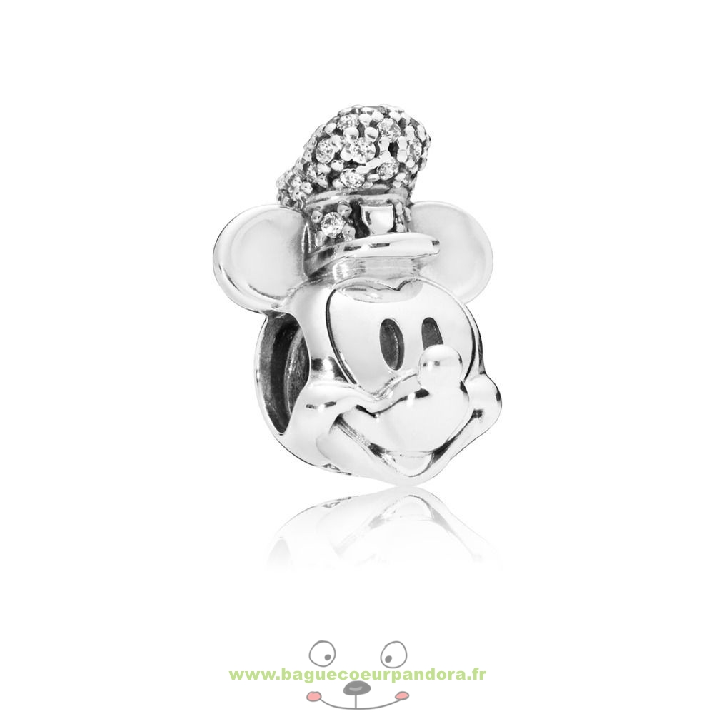 Accessoires Bijoux Pandora Charme Disney, Version Portrait De Mickey Steamboat Willie Scintillant